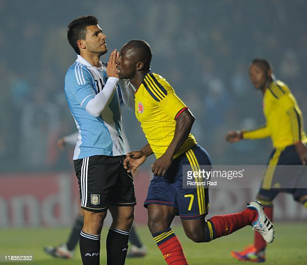 Argentina's Sergio Aguero reacts after missing an opportunity to score against Colombia during 2011 Copa America soccer match as part of Group A at...