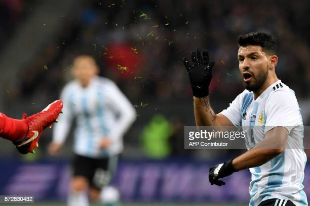 Argentina's Sergio Aguero reacts during an international friendly football match between Russia and Argentina at the Luzhniki stadium in Moscow on...