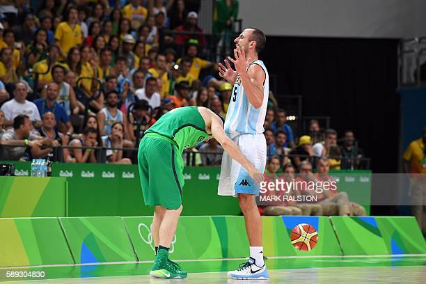 Argentina's shooting guard Manu Ginobili reacts after fouling Brazil's point guard Marcelinho Huertas in the last seconds of a Men's round Group B...