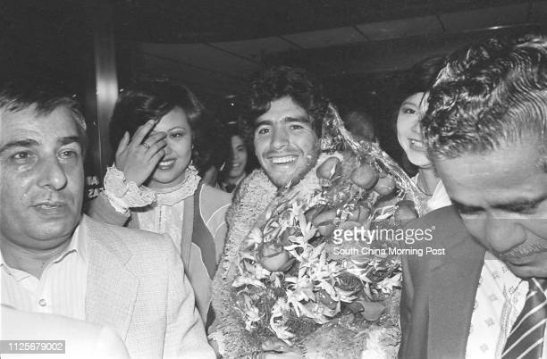 Argentina's soccer superstar Diego Maradona pictured on arrival with his team Boca Juniors at Kai Tak Airport 08 January 1982
