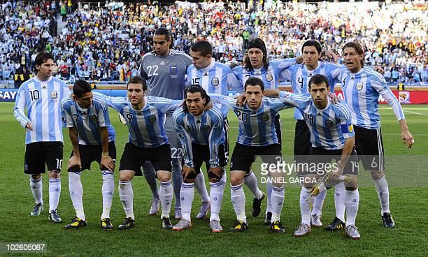 Argentina's striker Lionel Messi Argentina's goalkeeper Sergio Romero Argentina's defender Nicolas Otamendi Argentina's defender Martin Demichelis...
