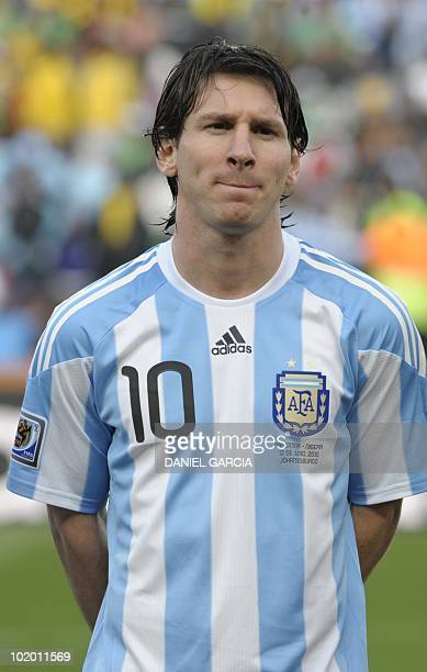 05f84a0df Argentina s striker Lionel Messi poses before the Group B first round 2010  World Cup football match