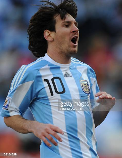 Argentina's striker Lionel Messi shouts during their Group B first round 2010 World Cup football match on June 17 2010 at Soccer City stadium in...