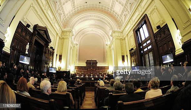 Argentina's Supreme Court receives on August 28 2013 representatives of the State of Grupo Clarin and of NGOs in an informal hearing that seeks the...