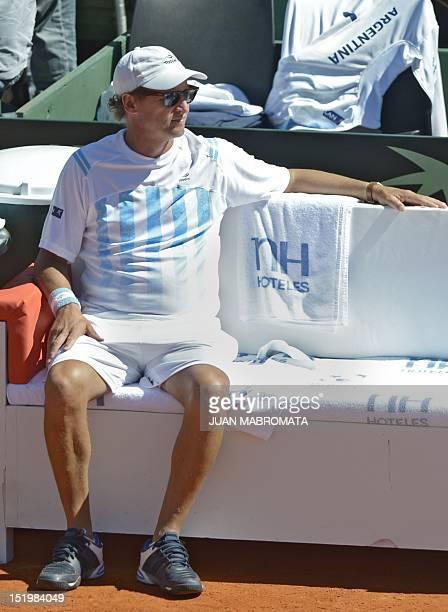 Argentina's team captain Martin Jaite gestures during the2012 Davis Cup semifinals single tennis match between Argentina's tennis player Juan Martin...