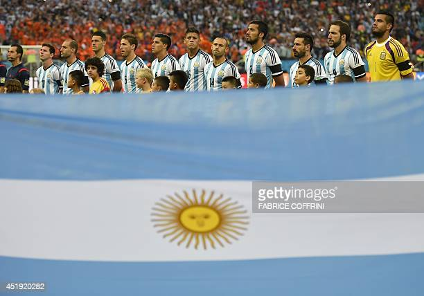 Argentina's team lines up to sing their national anthem prior to the semifinal football match between Netherlands and Argentina of the FIFA World Cup...