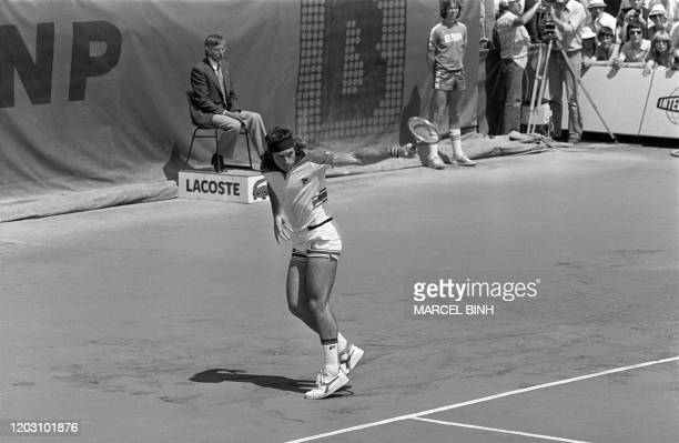 Argentina's tennis player Guillermo Vilas hits the ball during the men's single final against Sweden's Bjorn Borg at the French tennis Open of Roland...