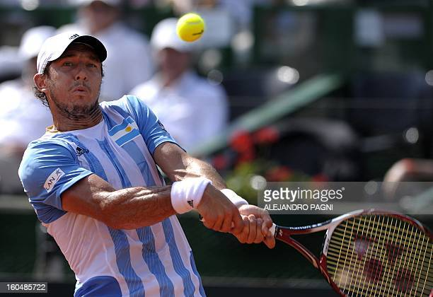 Argentina's tennis player Juan Monaco returns the ball to Germany's Florian Mayer during the 2013 Davis Cup World Group first round single tennis...