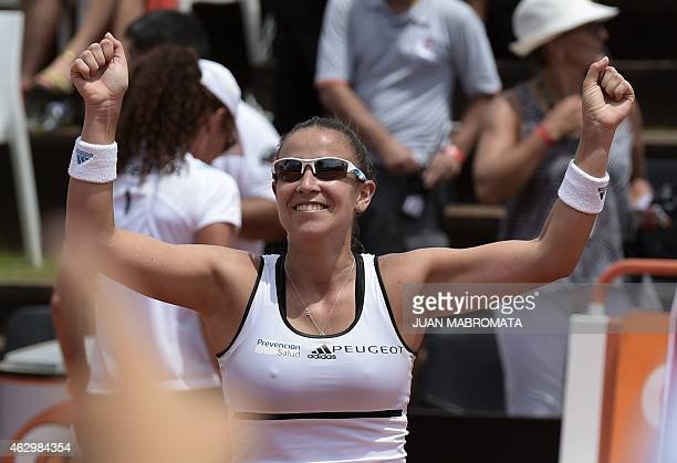 Argentina's tennis player Paula Ormaechea celebrates after defeating US' tennis player Coco Vandeweghe 64 64 in the 2015 Fed Cup World Group II first...