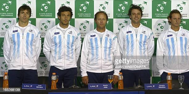 Argentina's tennis players Carlos Berlocq Juan Monaco captain Martin Jaite Horacio Zeballos and David Nalbandian pose during a press conference at...