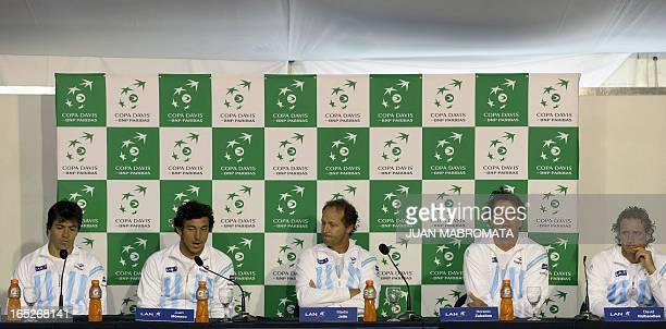 Argentina's tennis players Carlos Berlocq Juan Monaco captain Martin Jaite Horacio Zeballos and David Nalbandian attend a press conference at Parque...