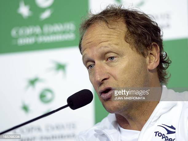 Argentina's tennis team captain Martin Jaite talks with journalists during a press conference at Parque Roca stadium in Buenos Aires on April 2 2013...