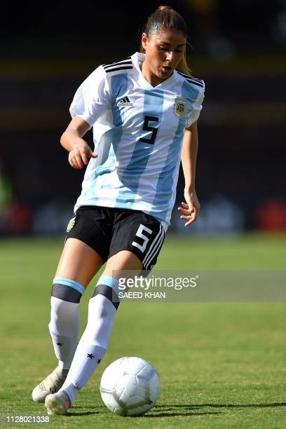 Argentina's Vanesa Santana controls the ball during the Women's Cup of Nations football match against South Korea in Sydney on February 28 2019 /...