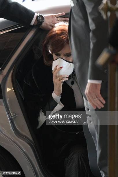 Argentina's Vice-President Cristina Fernandez de Kirchner arrives at Casa Rosada Presidential Palace for the announcement of the restructure of a $66...