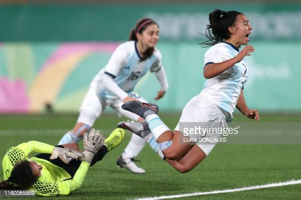Argentina's Yael Oviedo and Paraguay's Cristina Recaldevie for the ball during their Women's Football Semifinals at the Lima 2019 PanAmerican Games...