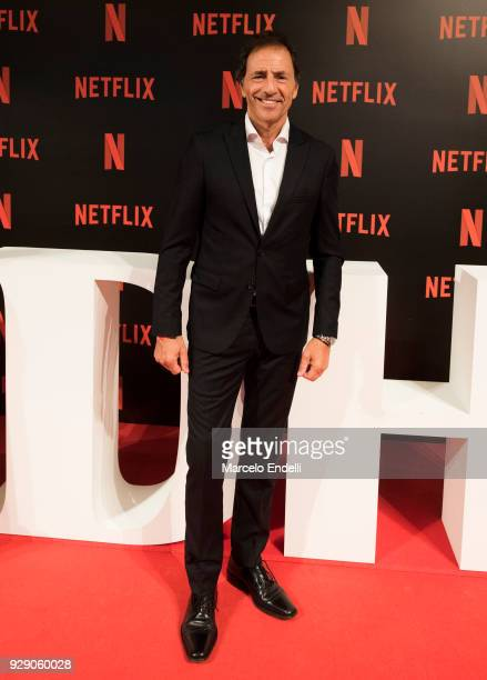 Argentine actor Martin Seefeld poses during the Premiere of Netflix's Edha at Cinemark Puerto Madero on March 7 2018 in Buenos Aires Argentina
