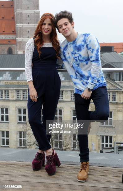 Argentine actors Candelaria Molfese und Facundo Gambande pose during a press event on the roof of a hotel in Munich Germany 25 March 2015 The actors...
