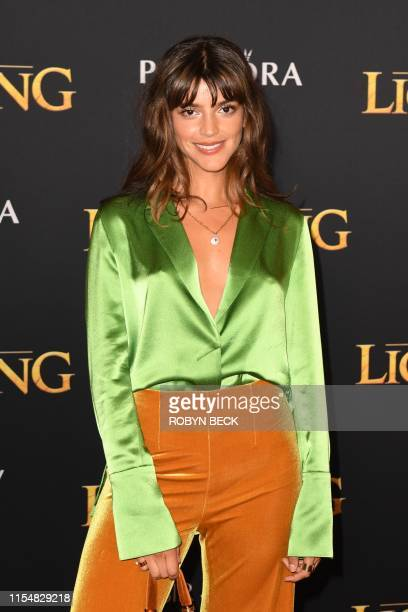"Argentine actress Calu Rivero arrives for the world premiere of Disney's ""The Lion King"" at the Dolby theatre on July 9, 2019 in Hollywood."