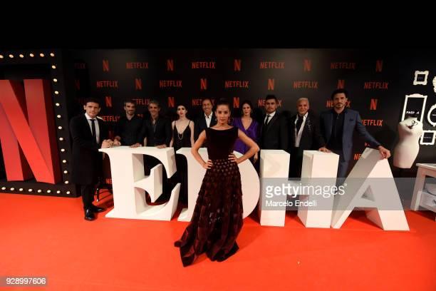 Argentine actress Juana Viale poses with Edha's Cast filmmaker Daniel Burman actors Daniel Hendler Pablo Echarri Sofia Gala Castiglione Martin...
