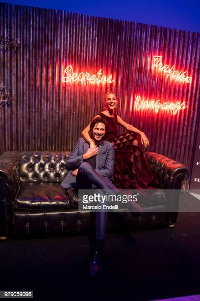 Argentine actress Juana Viale poses with Spanish actor Andres Velencoso during the after party as part of the Premiere of Netflix's Edha at Faena...