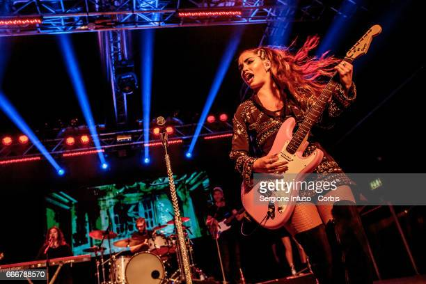 Argentine actress singer dancer model and songwriter Mariana Lali Esposito who records as Lali performs on stage on April 9 2017 in Milan Italy