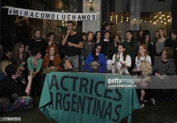Argentine actress Thelma Fardin speaks during a press conference surrounded by colleagues in Buenos Aires on October 17 2019 Nicaraguan attorney's...