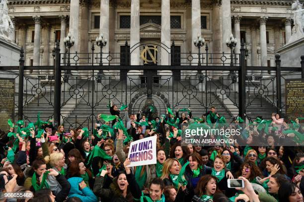 TOPSHOT Argentine actresses along with dozens of other prochoice activists gather in front of the Argentine Congress in Buenos Aires on June 3...