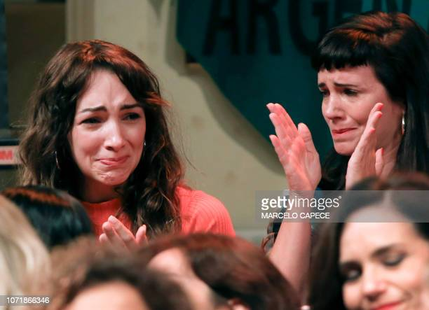 Argentine actresses Thelma Fardin and Griselda Siciliani members of the organization Argentine Actresses against sexual abuse react during a press...