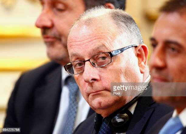 Argentine ambassador in France and newly appointed Foreign Minister Jorge Faurie a press conference as part of an official visit of German Chancellor...