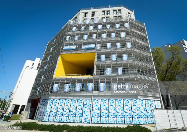 Argentine apartment building during a visit to the Youth Olympic Village on October 10 2018 in Buenos Aires Argentina