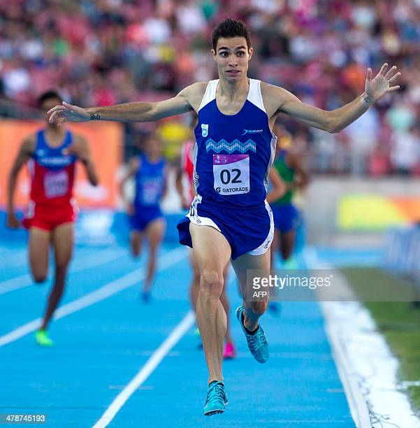 Argentine athlete Federico Bruno competes in the men's 1500M final during the X South American Games in Santiago on March 142014 AFP PHOTO / Claudio...
