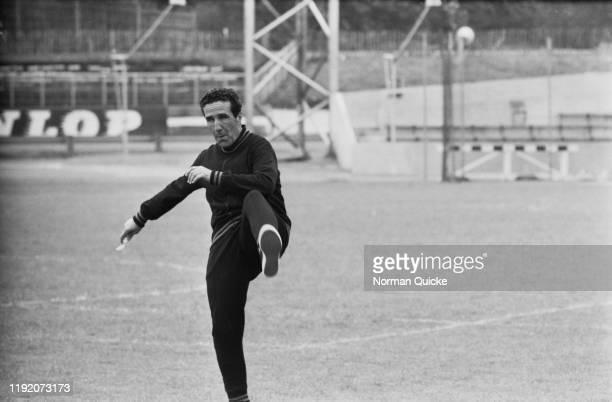 Argentine born French former footballer Helenio Herrera manager of Inter Milan football club takes part in a coaching session at Crystal Palace...