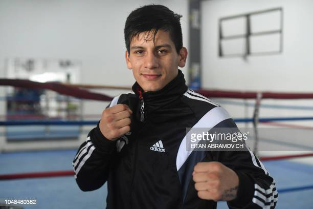 Argentine boxer Brian Arregui poses for a picture in Buenos Aires on October 01 2018 Arregui who started boxing at the age of nine is a candidate to...