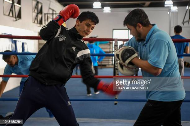 Argentine boxer Brian Arregui takes part in a training session in Buenos Aires on October 01 2018 Arregui who started boxing at the age of nine is a...