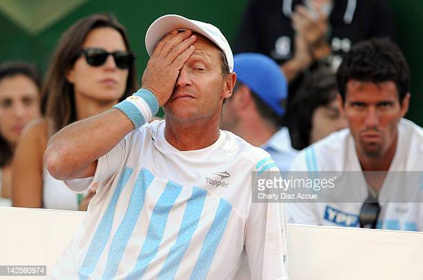 Argentine captain Martin Jaite reacts during the match between Argentina and Croatia for the quarterfinals of the Davis Cup at Mary Teran de Weiss...