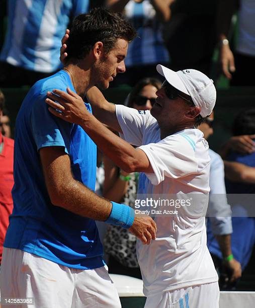 Argentine Captain Martin Jaite salutes Juan Martin Del Potro of Argentina after the match between Argentina and Croatia for the quarterfinals of the...