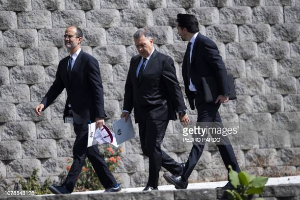 Argentine coach Gerardo 'Tata' Martino arrives with the president of the Mexican Football Federation Yon de Luisa and the FMF's sport director...