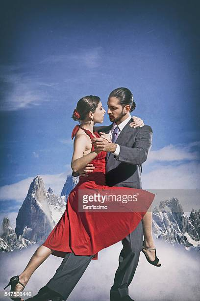 Argentine couple dancing tango in Patagonia
