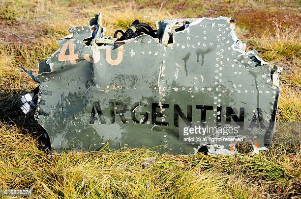 "argentine ""dagger"" crash site, pebble island / falkland islands - falklands war stock pictures, royalty-free photos & images"
