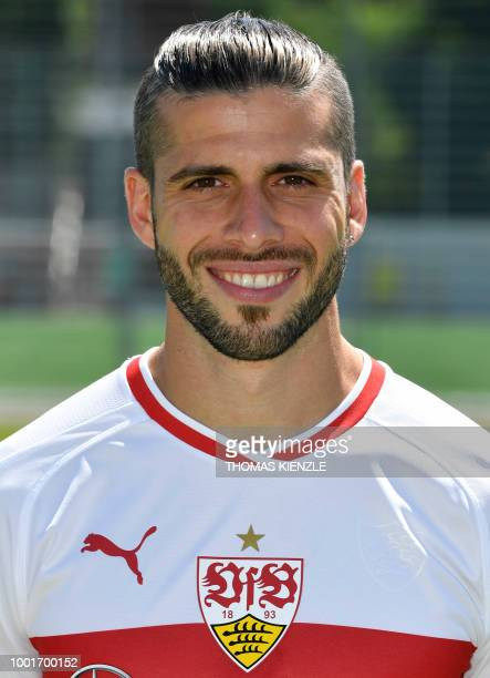 Argentine defender Emiliano Insua of German first division Bundesliga football team VfB Stuttgart poses for a family picture during the team's...