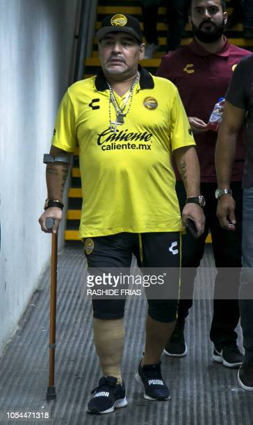 Argentine Diego Armando Maradona coach of Mexican second division football club Dorados is seen before a match against Tampico Madero at the Banorte...