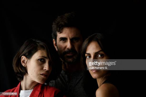 Argentine director Hernan Zin actress Nerea Barros and photojournalist Maysun pose for a portrait session during 63rd SEMINCI International Film Week...