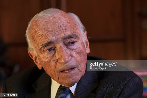 Argentine economist Aldo Ferrer poses during an exclusive portrait session on September 02 2015 in Buenos Aires Argentina
