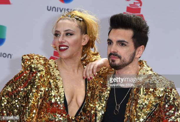 Argentine electropop band Miranda arrives for the 18th Annual Latin Grammy Awards in Las Vegas Nevada on November 16 2017 / AFP PHOTO / Mark RALSTON