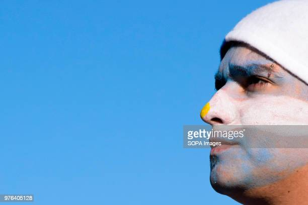 Argentine fan seen with all his face painted Thousands of football fans took to the main square in Buenos Aires to see the Argentine national...