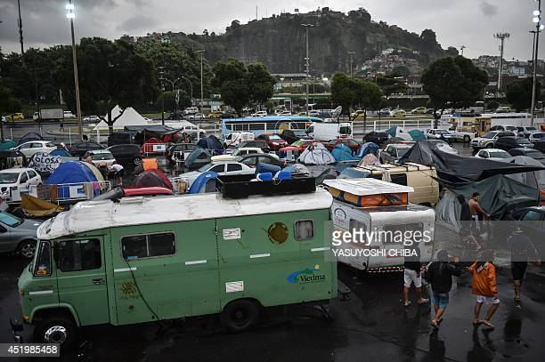 Argentine fans stay at Rio de Janeiro's Terreirao do Samba an openair area designed for carnival events where the city government has organized a...