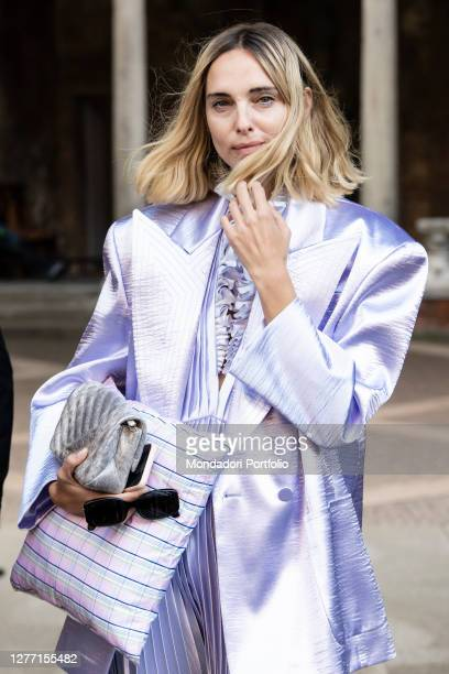 Argentine fashion blogger and model Candela Novembre guest arriving at the Philosophy di Lorenzo Serafini fashion show during Milan Fashion Week...