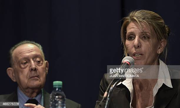 Argentine federal judge Sandra Arroyo Salgado exwife of Argentine late prosecutor Alberto Nisman offers a press conference on the results of the...