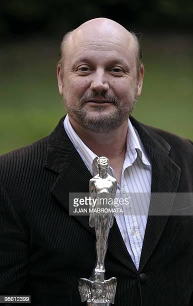 "Argentine film director Juan Jose Campanella poses with the Ariel Iberoamericano award for Argentine film ""El secreto de sus ojos"" given by Mexican..."