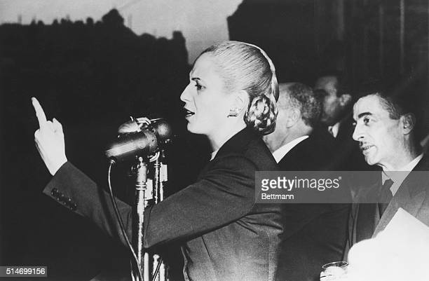 Argentine First Lady Eva Peron gives an election speech at a mass labor meeting